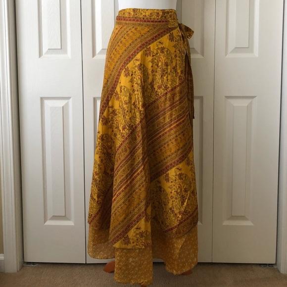 8724b9e699 Earthbound Trading Company Dresses   Skirts - Earthbound Trading Co.  Recycled Sari Wrap Skirt